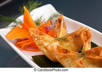 kã¤se, wontons, vorspeise, krabbe, thailändisch, creme