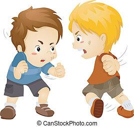 Kämpfende Jungs.