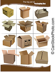 kästen, verpackung, satz, groß, karton