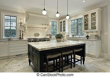 Küche mit Granittreppen