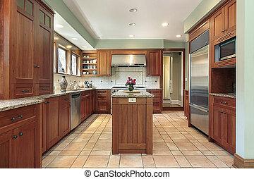 Küche mit Holzschrank