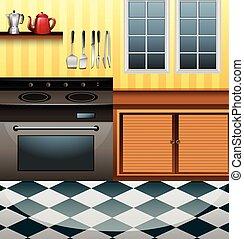 Küche mit Mikrowelle und Tisch.