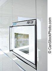 Küche, weißer Ofen, moderne Architektur