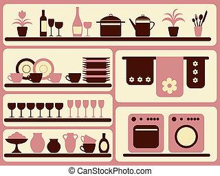 Küchen- und Heimobjekte sind bereit.