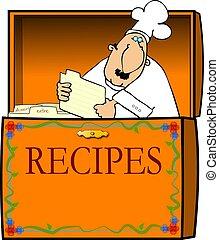 küchenchef, kasten, rezept