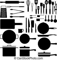 küchengerät, silhouette