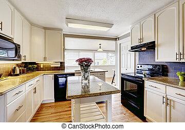 Küchenraum mit Insel und Granitplatten