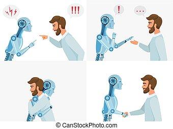 Künstliches Intelligenz-Interaktionskonzept. Mensch und Roboter. Menschliche und moderne Roboterkommunikation. Konzept Business Technologie Vektorgrafik.