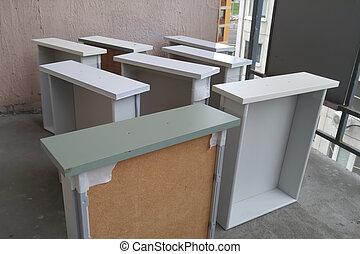 kabinett, schubladen, can., color., balcony., bettseite, tische, farbe, weißes, gemälde