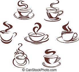 Kaffee und Teetassen