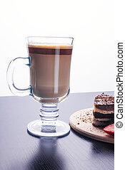 kaffeetasse, latte, glastisch