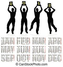 Kalender für 2012 mit vier Mann Silhouette