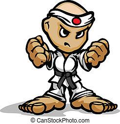 Karate Kampfkünste mit Maskottchen mit entschlossenem Gesicht und Fäuste mit Zeichentrickvektorbild