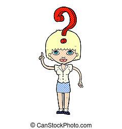 karikatur, frage, frau, fragen