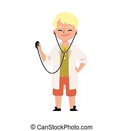 karikatur, wohnung, zeichen, junge kind, abbildung, doktor, vektor, spielende , isolated.