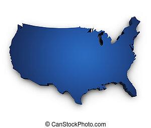 Karte der USA 3D Form.