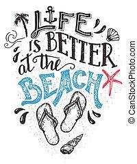 karte, hand-lettering, besser, leben, sandstrand