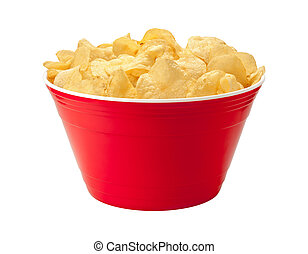 Kartoffelchips in einer roten Schüssel