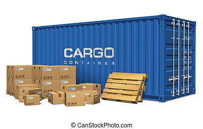 Kartonkartons und Frachtcontainer