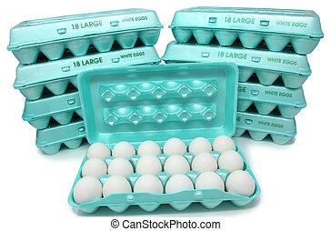 kartons, eier, groß, weißes, huhn, 162