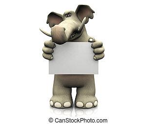 Kartoon-Elefant mit leerem Schild.