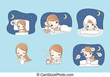 Kartoon-Frau ist Schlaflosigkeit.