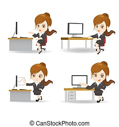 Kartoon Geschäftsfrau im Büro.
