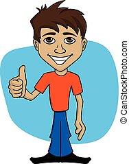 Kartoon Illustration eines glücklichen Mannes