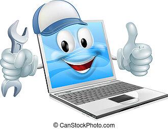 Kartoon Laptop Computer reparieren Maskottchen.