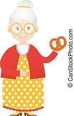 Kartoon Oma mit Kuchen in Handvektor.