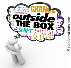 kasten, denken, kreativität, person, draußen, innovation