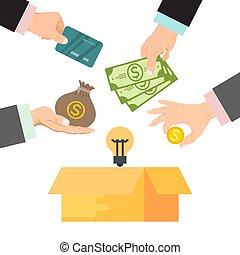 kasten, finanzierung, illustration., crowdfunding, tasche, geld, umgeben, geld, projekt, kredit, vektor, donated, hände, pappe, karten.