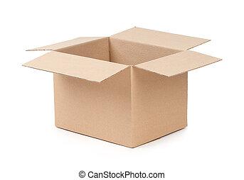 kasten, paket, geöffnet