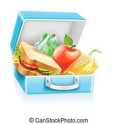 kasten, saft, butterbrot, apfel, mittagstisch