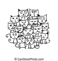 Katzenfamilie, Sketch für Ihr Design