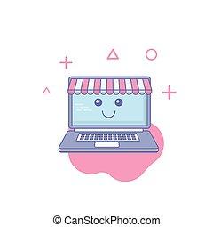 kawaii, lächeln, laden, emoticon., karikatur, illustration., online