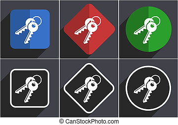 Keys set of flat design web icons in 6 options.