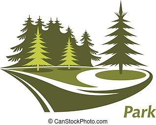 kiefern, grüner park, ikone