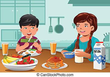 Kinder essen gesundes Frühstück.