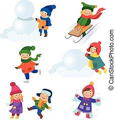Kinder, Kinder, die Winteraktivitäten genießen