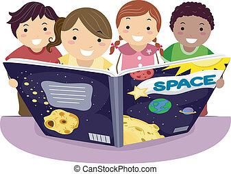 Kinder lernen Astronomie.