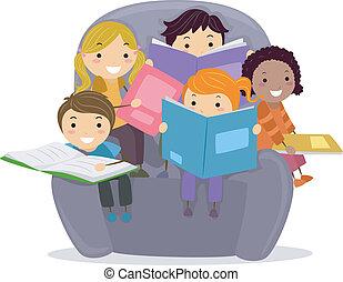 Kinder lesen Bücher