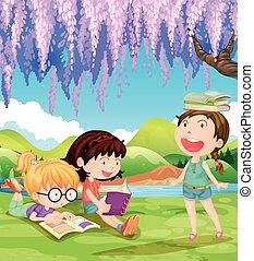 Kinder lesen Bücher unter dem Baum.