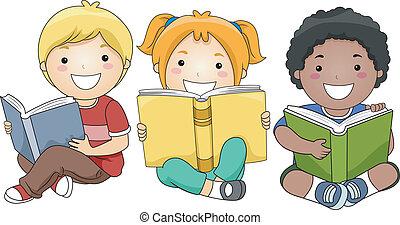 Kinder lesen Bücher.