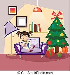 Kinder lesen das Buch neben einem Weihnachtsbaum