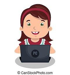 Kinder mit Computerdesign.