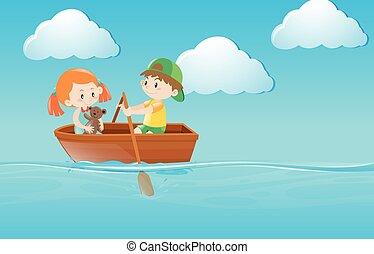 Kinder rudern im Fluss.