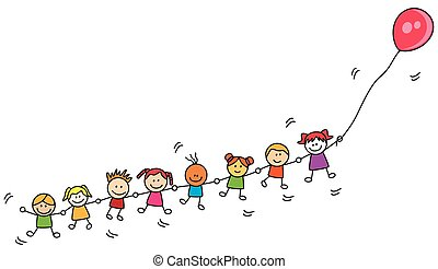 Kinder spielen Ballon.