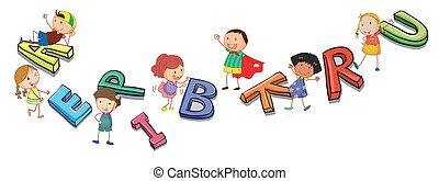 Kinder spielen mit Alphabet