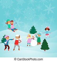 kinder, weihnachten, winter, machen, vektor, spielende , kinder, draußen, feiertage, eis, bäume, park, schieben, schlitten, schneemann, schlittschuhlaufen, weihnachten, balls., schnee, activities., illustration.